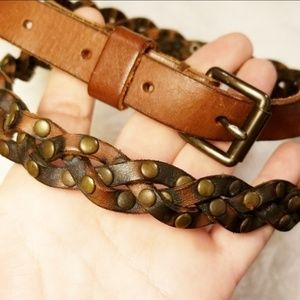 Accessories - {Vintage} Braided & Studded Leather Belt